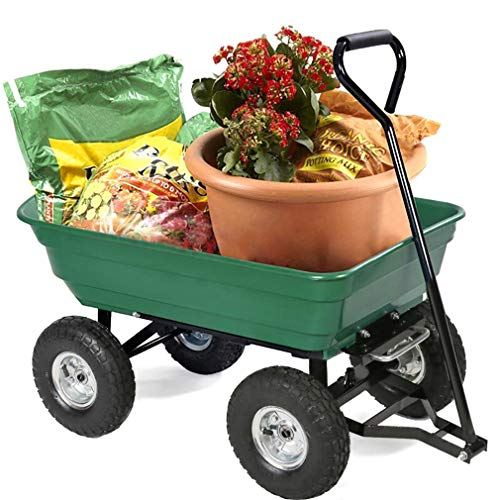 BestMassage-Garden-Cart-Utility-Yard-Dump-Cart-Wagon-Carrier-Wheelbarrow-4-Air-Tires-with-Poly-Pulling-Wagon-10-Pneumatic-TiresHeavy-Duty-Steel-Frame-0