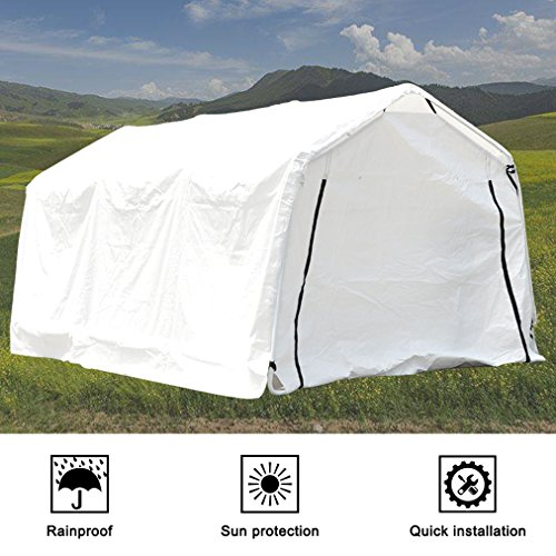 Deari-10-x-15-Feet-Heavy-Duty-Carport-Outdoor-Portable-Car-Canopy-Shelter-with-Removable-Side-Panels-Doors-and-8-Steel-Legs-White-0-2