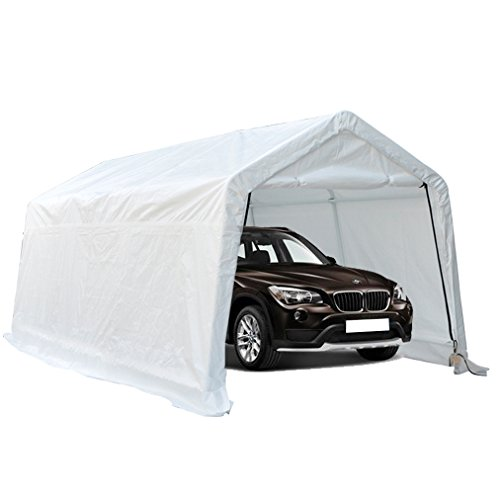 Deari-10-x-15-Feet-Heavy-Duty-Carport-Outdoor-Portable-Car-Canopy-Shelter-with-Removable-Side-Panels-Doors-and-8-Steel-Legs-White-0