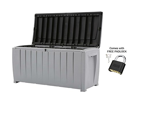 Deck-Box-Outdoor-Plastic-90-Gallon-Grey-Storage-With-Free-Combination-Keypad-BlackGrey-0