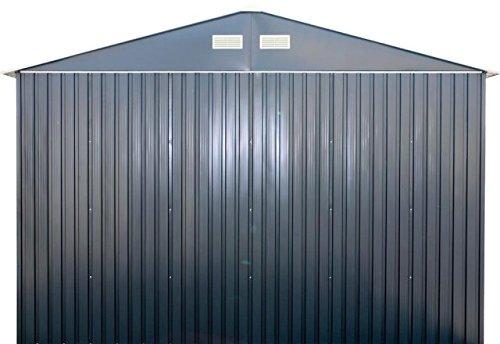 Duramax-55231-Metal-Garage-12-x-32-Metal-Storage-Shed-Off-White-with-Brown-Trim-0-0