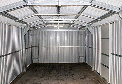 Duramax-55231-Metal-Garage-12-x-32-Metal-Storage-Shed-Off-White-with-Brown-Trim-0-2