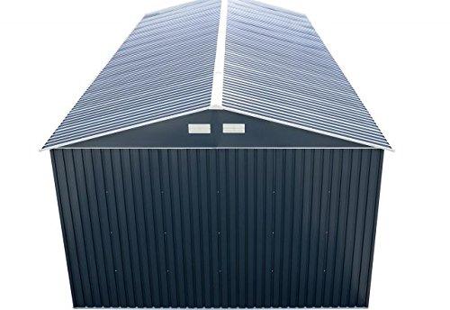 Duramax-55231-Metal-Garage-12-x-32-Metal-Storage-Shed-Off-White-with-Brown-Trim-0