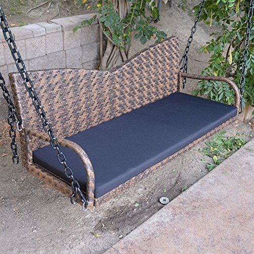 Espresso-52-Patio-Porch-Swing-Chair-Resin-Wicker-Tree-Ceiling-Hanger-Hanging-WChains-0-1