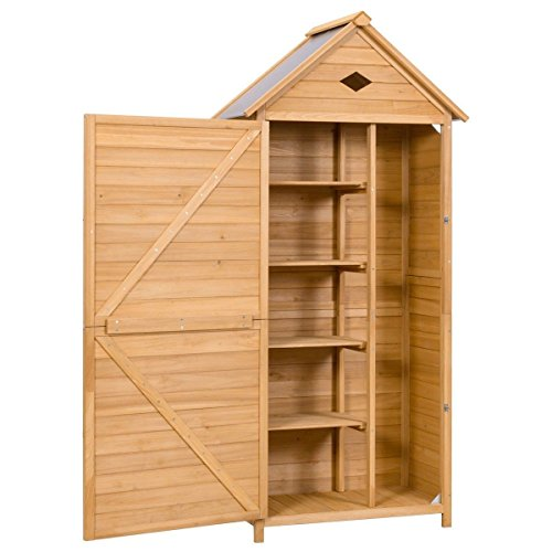 FDInspiration-70-Fir-Wood-Garden-Shed-Single-Storage-Cabinet-Galvanized-Sheet-Roof-with-Ebook-0-1