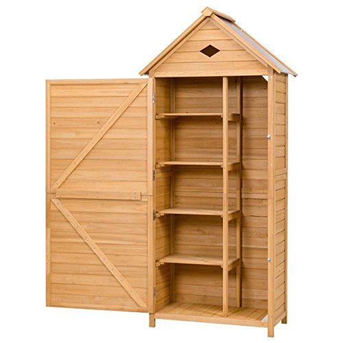 FDInspiration-70-Fir-Wood-Garden-Shed-Single-Storage-Cabinet-Galvanized-Sheet-Roof-with-Ebook-0