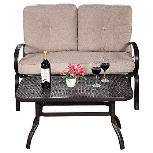 Furniture-Set-2PC-Patio-Outdoor-LoveSeat-Coffee-Table-Bench-With-Cushions-With-Ebook-0-0