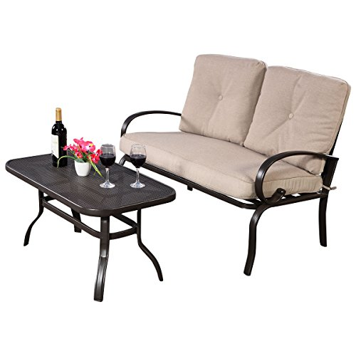 Furniture-Set-2PC-Patio-Outdoor-LoveSeat-Coffee-Table-Bench-With-Cushions-With-Ebook-0