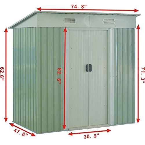 GHP-Outdoor-764Lx476Wx713H-Sturdy-White-and-Light-Green-Storage-Tool-House-0-0