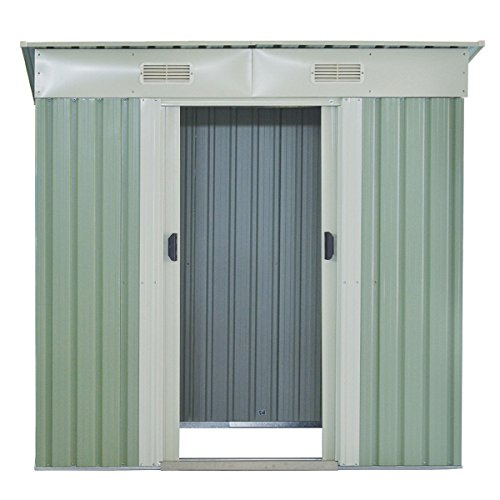 GHP-Outdoor-764Lx476Wx713H-Sturdy-White-and-Light-Green-Storage-Tool-House-0-1