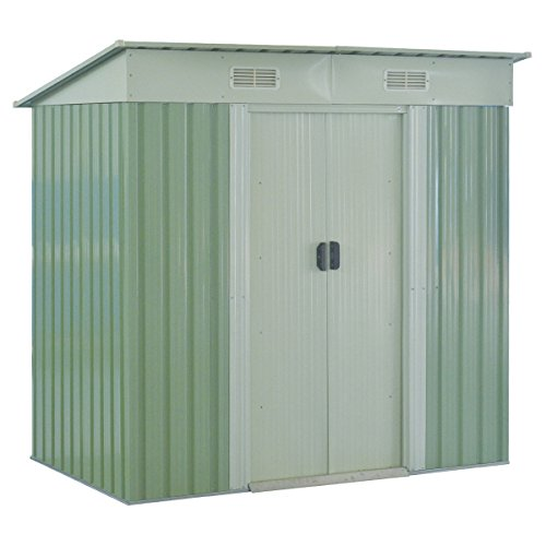 GHP-Outdoor-764Lx476Wx713H-Sturdy-White-and-Light-Green-Storage-Tool-House-0