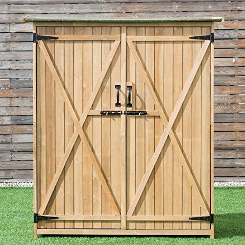 Goplus-Outdoor-Storage-Shed-Tilt-Roof-Wooden-Lockable-Storage-Unit-Fir-Wood-Cabinet-for-Garden-with-Two-Doors-0-0