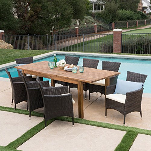 Great-Deal-Furniture-Lorelei-Outdoor-9-Piece-Multibrown-Wicker-Dining-Set-with-Teak-Finished-Acacia-Wood-Expandable-Dining-Table-and-Beige-Water-Resistant-Cushions-0-0