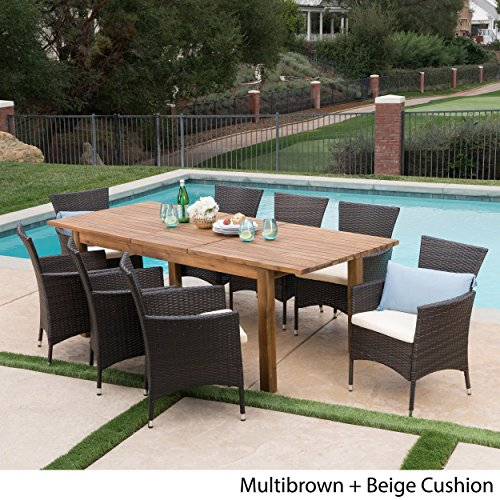 Great-Deal-Furniture-Lorelei-Outdoor-9-Piece-Multibrown-Wicker-Dining-Set-with-Teak-Finished-Acacia-Wood-Expandable-Dining-Table-and-Beige-Water-Resistant-Cushions-0-1