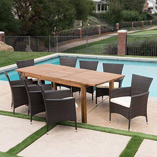 Great-Deal-Furniture-Lorelei-Outdoor-9-Piece-Multibrown-Wicker-Dining-Set-with-Teak-Finished-Acacia-Wood-Expandable-Dining-Table-and-Beige-Water-Resistant-Cushions-0-2