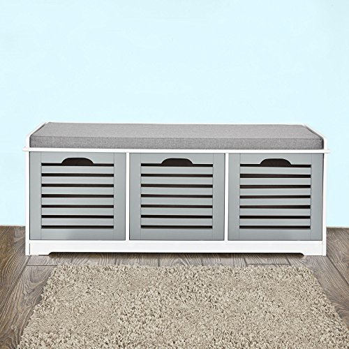Haotian-Storage-Bench-with-Drawers-Padded-Seat-Cushion-Hallway-Bench-Shoe-Cabinet-Shoe-Bench-0-0