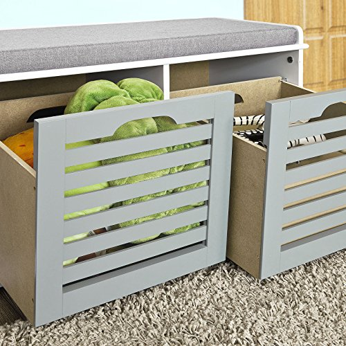 Haotian-Storage-Bench-with-Drawers-Padded-Seat-Cushion-Hallway-Bench-Shoe-Cabinet-Shoe-Bench-0-2