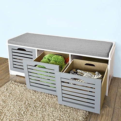 Haotian-Storage-Bench-with-Drawers-Padded-Seat-Cushion-Hallway-Bench-Shoe-Cabinet-Shoe-Bench-0