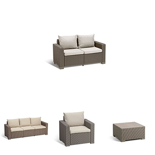 Keter-California-All-Weather-Outdoor-2-Seater-Patio-Conversation-Set-with-Cushions-in-a-Resin-Plastic-Wicker-Pattern-CappuccinoSand-0