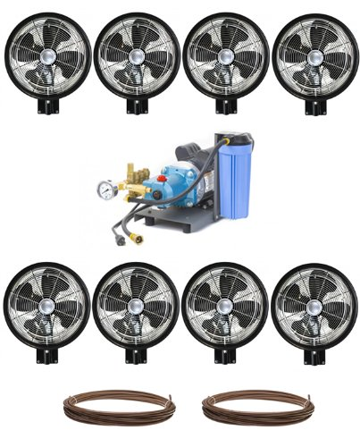 Kit-of-8-HIGH-PRESSURE-18-Oscillating-Wall-Mount-Mist-Fans-Pump-and-Tubing-0