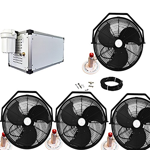 Misting-Fan-System-4-Black-Fans-18-Inch-Fans-with-1500-PSI-Misting-Pump-with-Patented-Center-Hub-for-Residential-Restaurant-Industrial-and-Commercial-Application-0