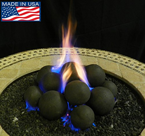 Myard-14-Cannonball-Fire-Stones-Log-Set-for-Fire-PitPersonal-Fireplace-0