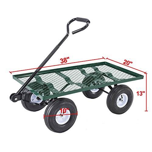 NEW-Lawn-Yard-Utility-Garden-Wagon-Heavy-Duty-Nursery-Cart-Wheelbarrow-Steel-Trailer-0-0
