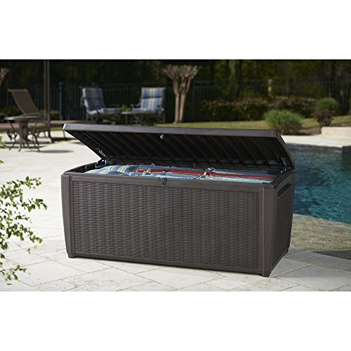 Outdoor-135-Gallon-Rattan-Style-Deck-Storage-Box-2-Seat-Heavy-Duty-Lockable-Lid-Wicker-Like-Texture-Vented-Piston-Lid-Sturdy-and-Long-Lasting-All-Weather-Resin-Plastic-Construction-0-2