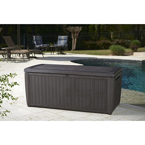 Outdoor-135-Gallon-Rattan-Style-Deck-Storage-Box-2-Seat-Heavy-Duty-Lockable-Lid-Wicker-Like-Texture-Vented-Piston-Lid-Sturdy-and-Long-Lasting-All-Weather-Resin-Plastic-Construction-0