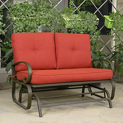 Outdoor-Cushioned-Patio-Glider-Swing-Loveseat-4-Removable-Cushions-Durable-and-Long-Lasting-Tubular-Wrought-Iron-Construction-Cotton-and-Olefin-Fabric-Cushions-Brick-Red-Finish-0-2