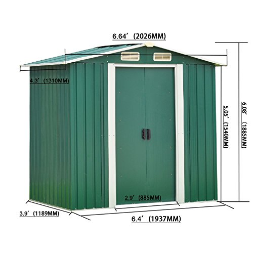 Peach-Tree-Outdoor-Steel-Garden-Storage-Utility-Tool-Shed-Backyard-Lawn-wDoor-0-0