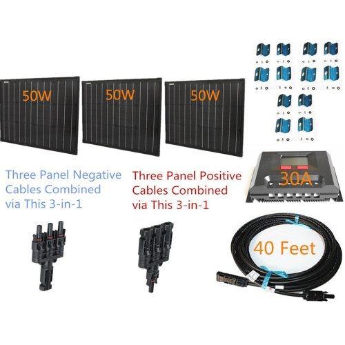 Plug-n-Power-Space-Flex-150w-150-Watt-Three-50w-SuperBlack-Solar-Panels-Kit-for-12v-Off-Grid-Battery-next-day-from-US-0