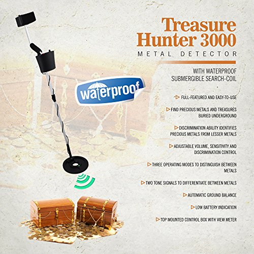 Pyle-Metal-Detector-Coin-Gold-Metal-Finder-Adjustable-Controls-Water-Proof-Coil-Treasure-Hunter-3000-PHMD3-0-0