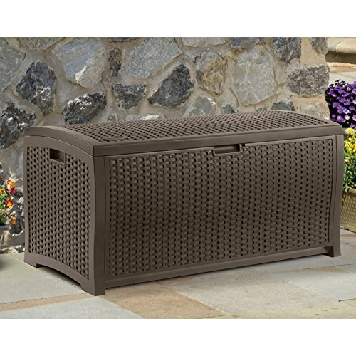 Stylish-99-Gallon-Patio-Deck-Box-Contemporary-Wicker-Design-Heavy-Duty-Plastic-Long-Lasting-Resin-Construction-Stay-Dry-Design-Keeps-Out-Inclement-Weather-Ultimate-Durability-0
