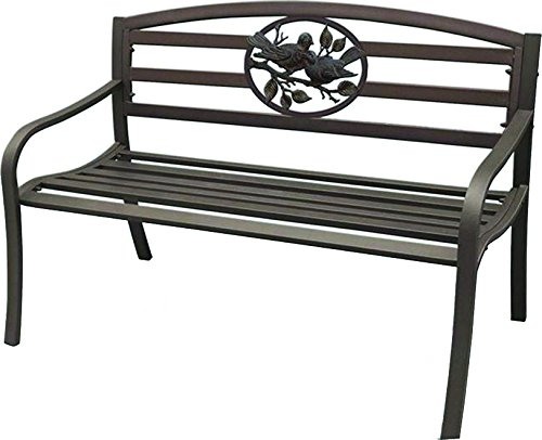 Terra-Verde-Home-Steel-Park-Bench-with-Bird-Design-Black-0