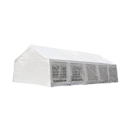 UNIONLINE-197W-x-328D-Heavy-Duty-Outdoor-Wedding-Carport-Canopy-Party-Tent-White-with-Sidewalls-0-0