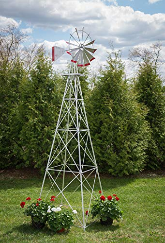 12-Ft-Premium-Aluminum-Decorative-Garden-Windmill-Red-Trim-0