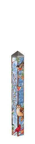 3-Art-Pole-All-Nature-Sings-Painted-Peace-Pole-4-Sided-Artwork-Owl-Cardinals-Blue-Jays-0