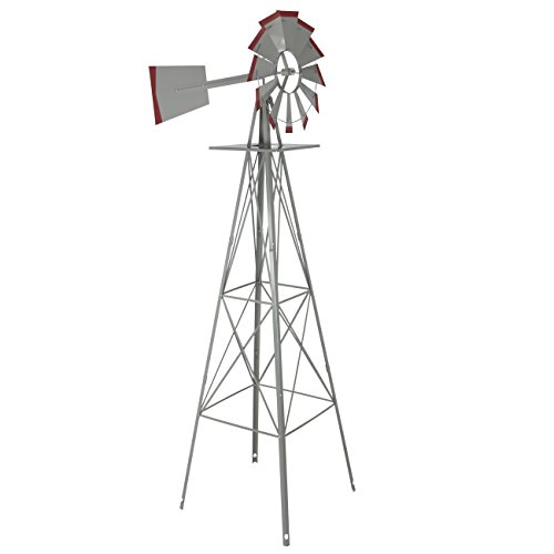 8-Windmill-Ornamental-Garden-Weather-Vane-Weather-Resistant-Silver-and-Red-0-0