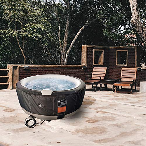 ALEKO-HTIR4BKWH-Round-Inflatable-Hot-Tub-Spa-with-Zip-Cover-4-Person-210-Gallon-Black-and-White-0-0
