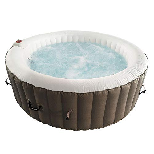 ALEKO-HTIR6BRW-Round-Inflatable-Hot-Tub-Spa-with-Cover-6-Person-265-Gallon-Brown-and-White-0-0