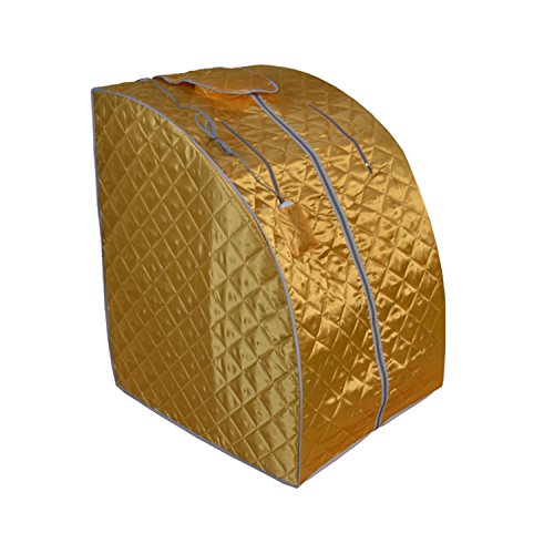 ALEKO-PIN11Y-Personal-Folding-Portable-Home-Infrared-Sauna-with-Folding-Chair-and-Foot-Pad-for-Relaxation-and-Weight-Loss-37-x-28-x-31-Inches-Gold-0