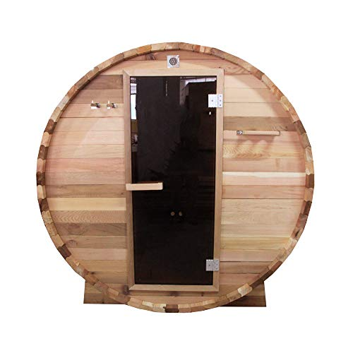 ALEKO-SB6CEDAR-Rustic-Red-Cedar-Indoor-Outdoor-Wet-Dry-Barrel-Sauna-and-Steam-Room-with-Front-Porch-Canopy-6-kW-ETL-Certified-Heater-6-Person-83-x-72-x-75-Inches-0-0