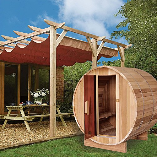 ALEKO-SB6CEDAR-Rustic-Red-Cedar-Indoor-Outdoor-Wet-Dry-Barrel-Sauna-and-Steam-Room-with-Front-Porch-Canopy-6-kW-ETL-Certified-Heater-6-Person-83-x-72-x-75-Inches-0-1