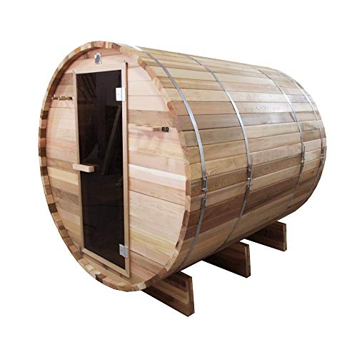 ALEKO-SB6CEDAR-Rustic-Red-Cedar-Indoor-Outdoor-Wet-Dry-Barrel-Sauna-and-Steam-Room-with-Front-Porch-Canopy-6-kW-ETL-Certified-Heater-6-Person-83-x-72-x-75-Inches-0