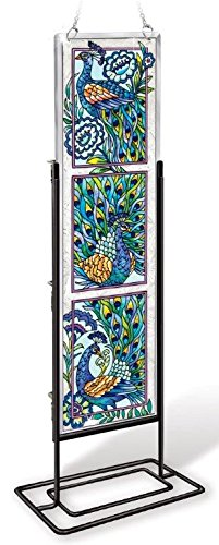 Amia-42022-Hand-Painted-Beveled-Glass-Triptych-Decor-Panel-4-12-by-16-Inch-Peacock-Design-0