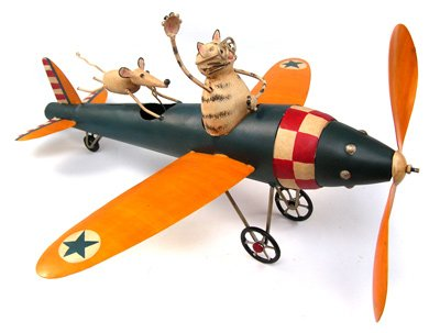 Aviator-Cat-Mouse-Kinetic-Garden-Art-Sculpture-Wind-Spinner-Outdoor-Vintage-Style-Airplane-0