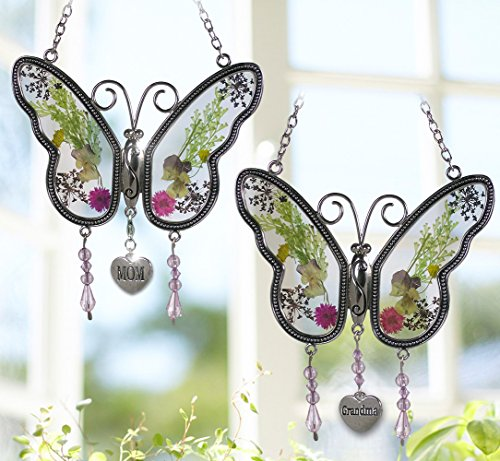 BANBERRY-DESIGNS-Mom-Butterfly-Suncatcher-Grandma-Butterfly-Suncatcher-Set-of-2-Pressed-Flower-Sun-Catcher-Each-One-Has-an-Engraved-Silver-Heart-Charm-0