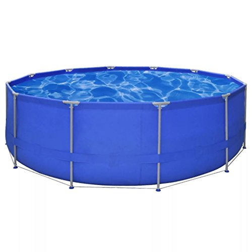 BLXCOMUS-Outdoor-Garden-Above-Ground-Swimming-Pool-Steel-Frame-Round-Blue-Swimming-Pool-Vacuum-With-Two-Connections-And-Size15-x-4-0