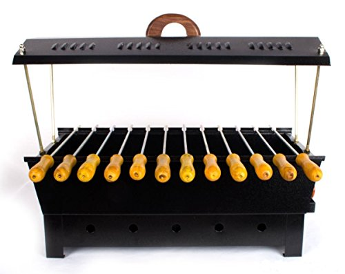 Barbeque-Charcoal-Grill-12-Hut-Shaped-Barbeque-Black-Iron-Barbeque-Portable-BBQ-Grill-Travel-Essentials-0-0
